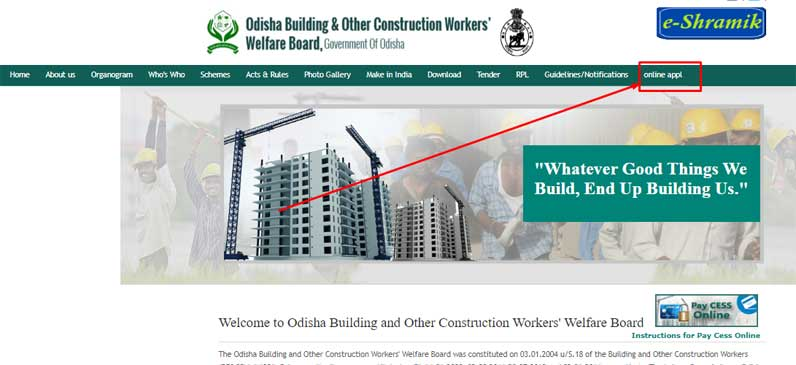 Labor cards apply online in Odisha
