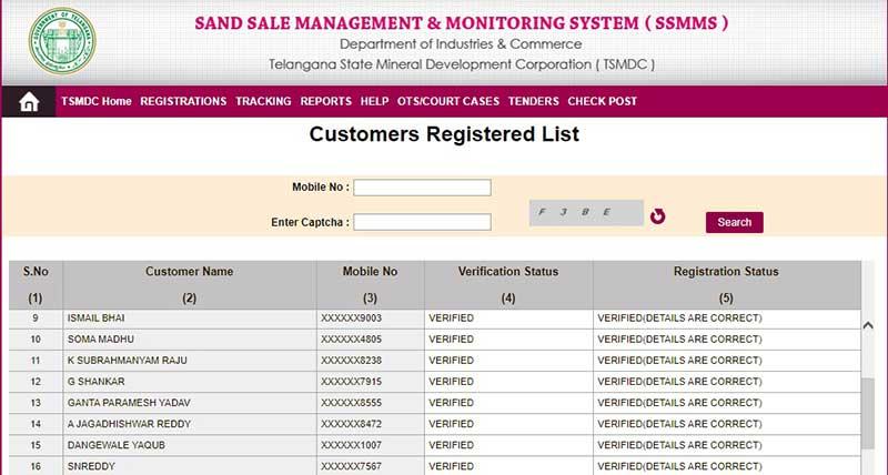 registered customer list
