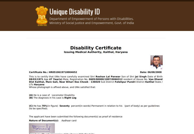 disability certificate download