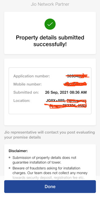 complete jio tower application